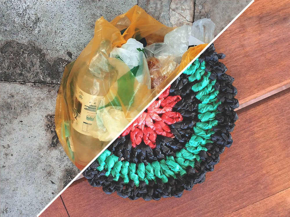 Théla crochets and sews products with yarn made out of discarded plastic bags, thus preventing plastic waste from filling our landfills, polluting our oceans and harming our wildlife.