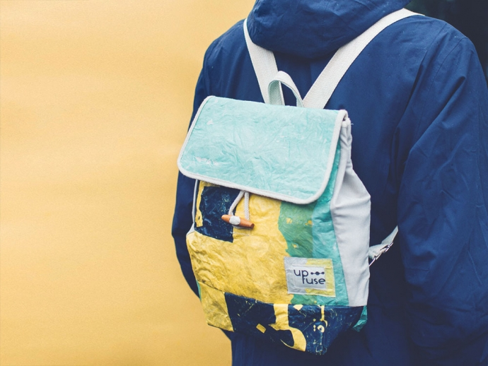 Up-fuse backpacks are upcycled from rejected plastic bags.